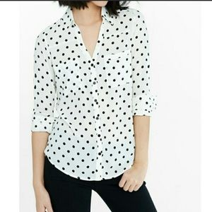 Express the Portofino shirt black polka dot sz S